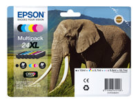 Epson 24XL Multipack - 6-pack - XL - svart, gul, cyan, magenta, lys magenta, lys cyan - original - blekkpatron - for Expression Photo XP-55, XP-750, XP-760, XP-850, XP-860, XP-950, XP-960 C13T24384021