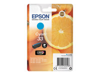 Epson 33 - 4.5 ml - cyan - original - blister - blekkpatron - for Expression Home XP-635, 830; Expression Premium XP-530, 540, 630, 635, 640, 645, 830, 900 C13T33424012