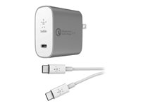 Belkin BOOST CHARGE USB-C Home Charger + Cable with Quick Charge - Strømadapter - 27 watt - QC 4+ (USB-C) - på kabel: USB-C - sølv F7U074MY04-SLV