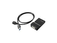 Lenovo USB 3.0 to DVI/VGA Monitor Adapter - Ekstern videoadapter - USB 3.0 - DVI - for Miix 510-12; 520-12; 710-12; Thinkpad 13; ThinkPad E57X; L570; P51; P71; T470; X1 Yoga 0B47072