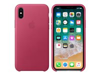 Apple - Baksidedeksel for mobiltelefon - lær - fuksiarosa - for iPhone X MQTJ2ZM/A